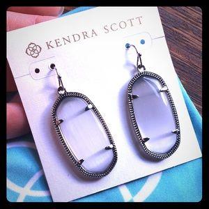 Kendra Scott Silver Elle Slate Tiger Eye Earrings